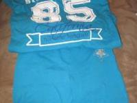 Girls size M(7-8) Blue/Teal t-shirt and matching