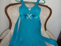 "Lovely Teal Pleated ""Taboo"" Wedding gown (Small). with"