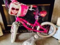 "Ladies So Pretty Barbie Bike16""Pink & & WhiteStorage"