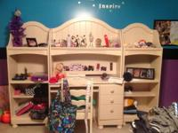 Twin bed, two nightstands, desk, hutch, mattress, box