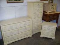 High end shabby chic girls bedroom set. Dresser with