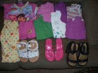Summer/Spring clothing lot Size 4T and 4 Includes: Dora