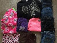 Girls Clothing Size 5: 6 pair of jeans, 1 black jacket,