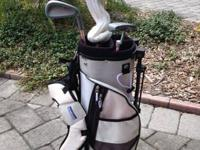 Right handed Golf Set includes: Bag with rain cover, 3