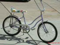 OLDER SCHWINN GIRLS 20 INCH CRUISER BIKE, SINGLE SPEED