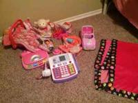 Bundle of toys that includes: Barbie cash register,