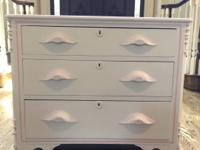 "Girls dresser  17.5"" D / 35"" L / 31""H PAINTED PINKS AND"