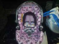 Girls infant car seat with base. In really good