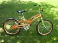 A VERY NICE GIRLS 20. BIKE. IT HAS 20 X 2.125 TIRES.