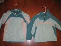 These teal and white L.L. Bean snow jackets are great
