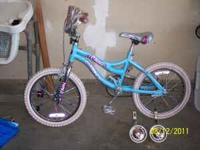 "Girls next misty 18"" bike with training wheels and"