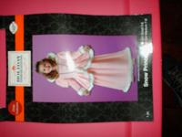 PINK GIRLS SIZE MEDIUM PINK CLOTH FELT DRESS WHITE FUR