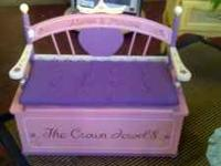 Very cute little girls bench toy chest $40  Location: 2