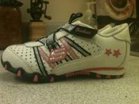 Girls Skechers sneakers. White, pink and silver. Velcro
