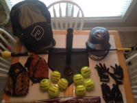 Sell softball bat Glove Bat bag Balls Helmet Tee