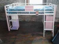 Brand new girls pink youth bed with ladder and shelves