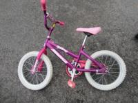 Girls bike, used, but still in good shape. New tire, no