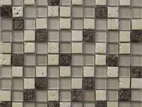 Glass and Art Marble Mosaic Mix Glass with Ivory, Noce
