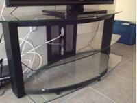 Three shelf glass tv stand with metal (brushed black