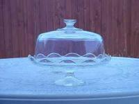 Heavy glass cake pedestal with very solid, heavy glass