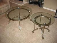 Glass coffee & End Table Aluminum frame with glass