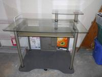 Glass Computer Desk with monitor shelf. Approximately