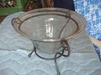 Nice Glass display bowl with black metal stand 10""