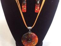 Orange and black glass earring and necklace set from