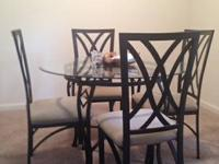 "Glass kitchen table and 4 chairs - $150  45"" round,"