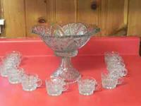 Glass Pedestal Punch Bowl with 11 cups, $75 call