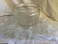 glass punch bowl and 12 cups (one cup is different),