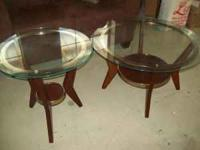 FOR SALE A VERY NICE SET OF WOOD AND GLASS COFFEE & END