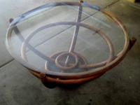 Pretty Coffee Table made of Cane and Glass Top. The