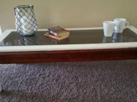 Reclaimed coffee table with glass top, freshly sanded