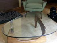 Noguchi inspired glass top coffee table Walnut base