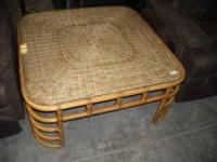 Rattan glass top coffee table $75 Rattan glass top end