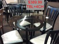 "42 "" GLASS TOP DINING TABLE + 4 CHAIRS ONLY $389.99 +"
