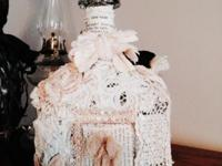 One of a Kind Shabby Chic styled glass bottle with