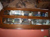 very nice wooden glass curio cabinet all lights work