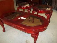 Glass Panel Top Coffee Table and End Tables Our Price