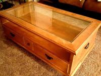 "Glass Top White Oak Coffee Table. 50"" wide x 28"" deep."