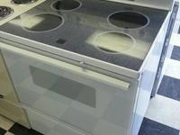 "Used Hotpoint 30"" glasstop stove and oven in white."