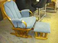 Really nice blue gliding rocker and ottoman with