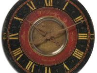 This clock has a weathered, laminated clock face in a