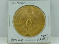 A 1821 - 1947 50 Peso that is .900 fine gold, and