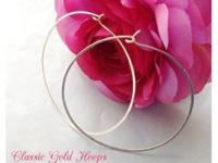 Popular gold or silver hammered hoop earrings made by
