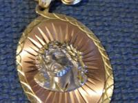 14K GOLD CHAIN VERY BIG GOLD CHAIN WITH CHRIST EMBLEM