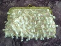 This cute little purse has pearl beading with
