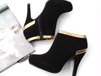 Gold Edged Round Head High Heel Platforms Black Product