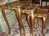 Beautiful accent tables. Set of 3 gold stacking tables.